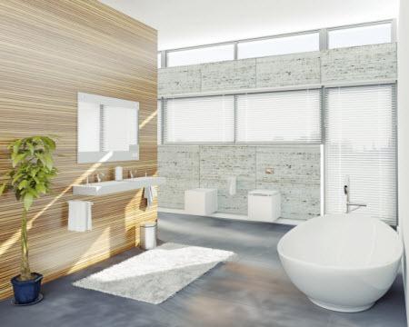 עיצוב טבעי בשילוב עץ ואבן בחדר האבטיה