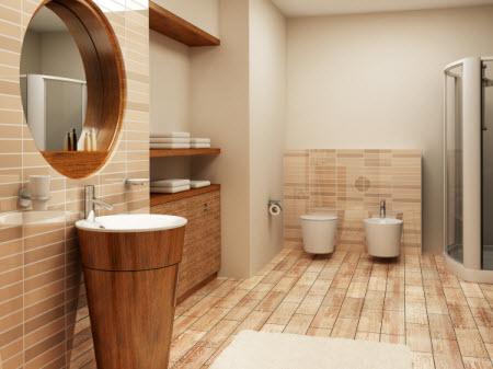 חדר אמבטיה מעוצב עם עץ ואבן
