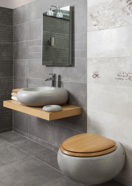 כיור אמבטיה מיוחד שילוב עם עץ ואבן