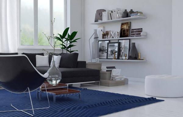 שימוש בצבע כחול בסלון מעוצב