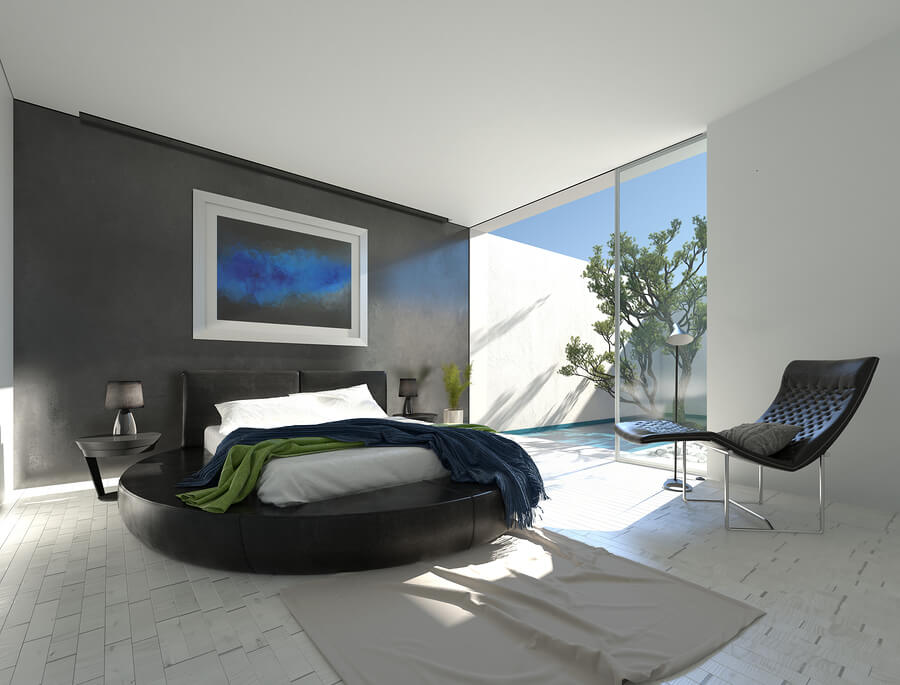חדר שינה מעוצב עם עור ואור