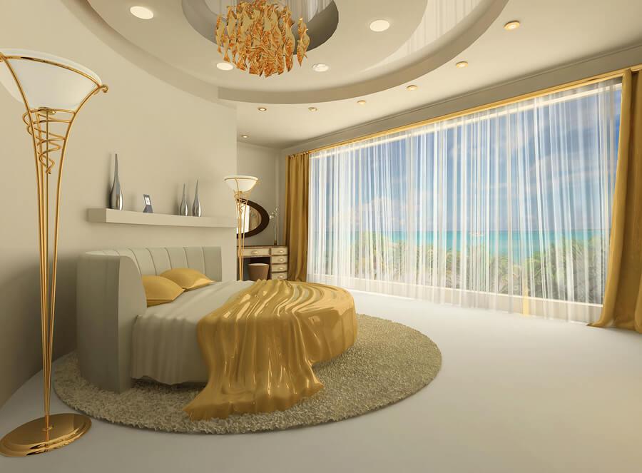 מיטה עגולה בצבע זהב