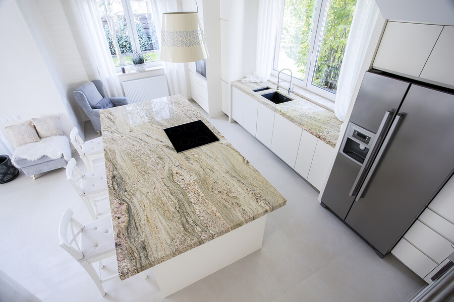 Top view of Modern Kitchen With Marble Worktops